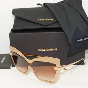 DOLCE & GABBANA CAT EYE SAND ROSE GOLD SUNGLASSES